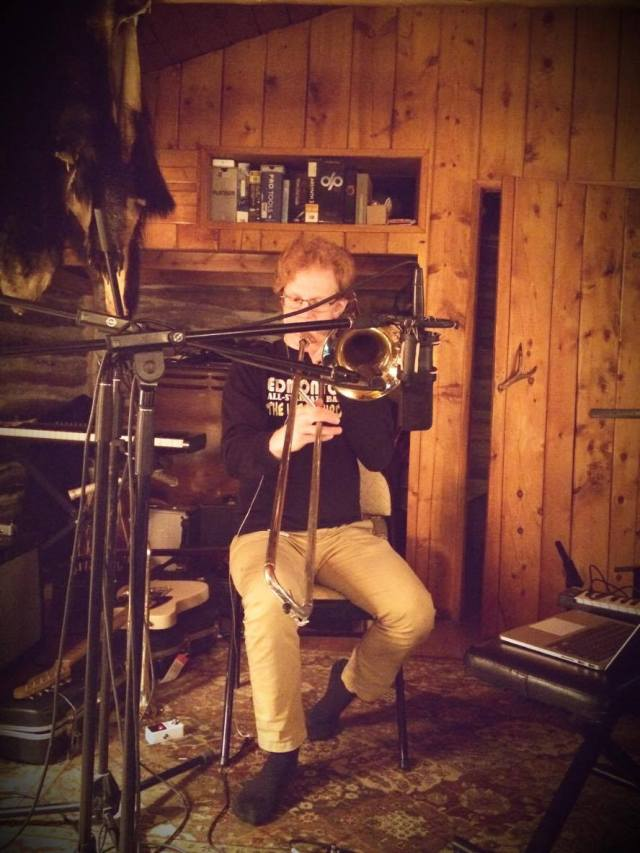 Recording some trombone tracks in the cabin. Photo by the beautiful and talented Genoveve Zepeda.